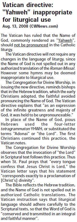 Vatican Directive